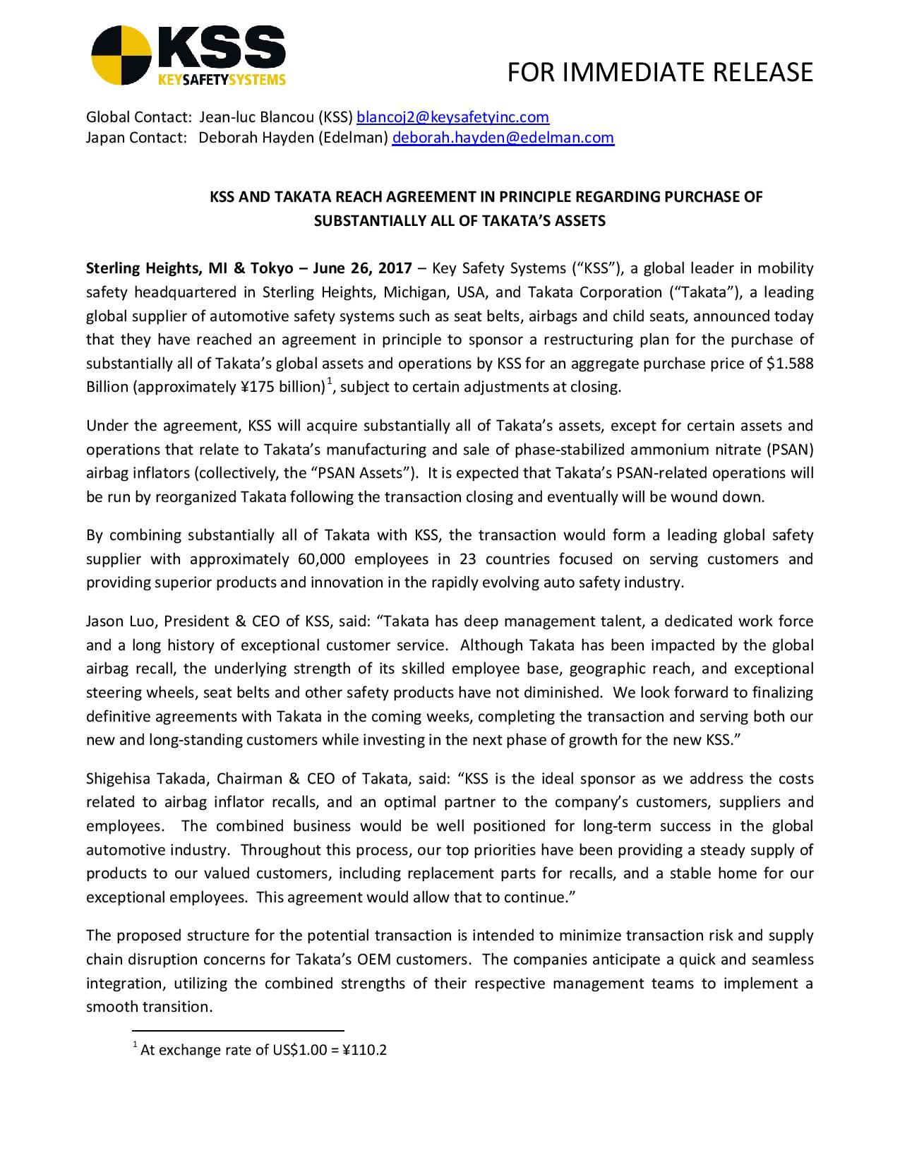 KSS-AND-TAKATA-REACH-AGREEMENT-IN-PRINCIPLE-REGARDING-PURCHASE-OF-SUBSTANTIALLY-ALL-OF-TAKATAS-ASSETS-6 26 17-page-001